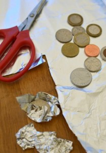 Use leftover foil to wrap coins for cake