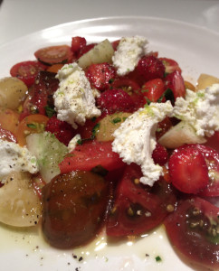 Heirloom tomato, cucumber, strawberry and chevre salad