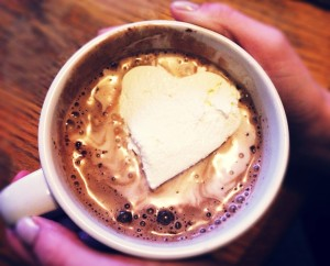 heart marshmallow floats in hot chocolate