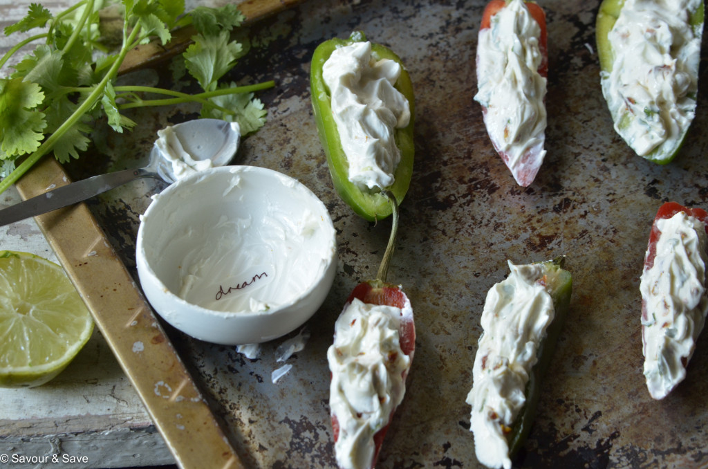 Cream cheese, goat cheese, sundried tomatoes and fresh herbs are perfect for these poppers