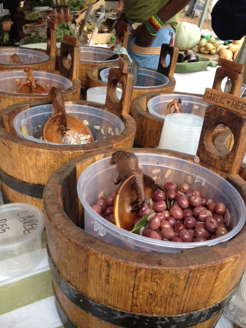 Barrels of tasty olives to be purchased at the Oranjezicht Market